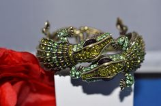 Kenneth Jay Lane Double Head GREEN Alligator Bracelet Rare Pave Crystals  #KennethJayLane #Bracelet