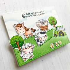 Happy Fri-Yay!!! Today I have for you a HIDDEN slider card using the adorable  Farm Friends  stamp set from MFT.          I started the car...
