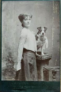 ANTIQUE CABINET PHOTOGRAPH OF YOUNG WOMAN WITH TERRIER DOG LEWIS & CO BRISTOL in Collectibles, Photographic Images, Vintage & Antique (Pre-1940), CDVs | eBay