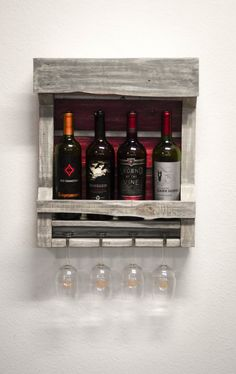 Wall Wine Rack Gray and Antique Red from Reclaimed Wood by TheWoodChopShoppe on Etsy