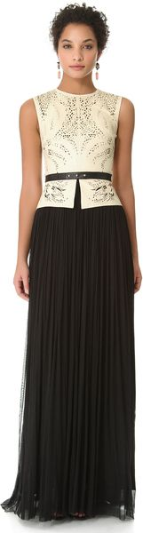 Odessa Leather Top Dress - Lyst