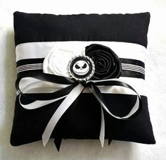 Nightmare Before Christmas/Jack Skellington Wedding Ring Pillow Made from an black cotton fabric,white,black and pinstripe satin,it has a plain