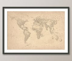 City Text Map of the World Map, Art Print, 24x36 inch (162). £24.99, via Etsy.