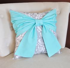 Throw Pillow Bright Aqua Bow on a Gray and White Damask Pillow 14x14 -Tiffany Blue Pillow- on Etsy, $34.00