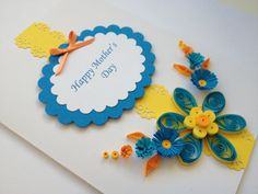 Handmade Quilled Card Happy Mothers Day Can be by Joscinta on Etsy, £6.00