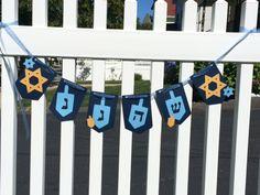 HANUKKAH Dreidel Banner - Driedel decoration by TwoCraftyGirlsKelLau on Etsy https://www.etsy.com/listing/203654566/hanukkah-dreidel-banner-driedel