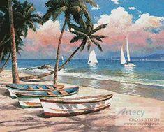 Three Boats on a Tropical Beach cross stitch pattern.