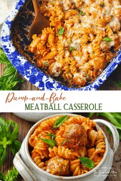 Just 5 ingredients for this easy Dump-and-Bake Meatball Casserole -- and you don't even have to boil the pasta! Easy Dinner Recipe Easy Casserole Recipes, Casserole Dishes, Pasta Recipes, Beef Recipes, Cooking Recipes, Easy Dinner Recipes, Dinner Ideas, Meatball Casserole, Meatball Bake