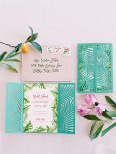 """Wedding Photography Hawaii - With a vision of """"a glamorous garden party with the nostalgia of Palm Springs,"""" this all-star team of creatives dreamt up this tropical bridal shower editorial we want to dive right into. Simple Wedding Invitations, Diy Invitations, Wedding Invitation Cards, Invitation Suite, Invitation Design, Wedding Stationery, Palm Springs, Garden Bridal Showers, Tropical Bridal Showers"""