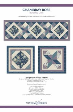 Cottage Rose Runner and Shams by Stephanie Sheridan of Stitched Together Studios