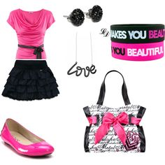Out with my frans!! My 11 year old daughter is obsessed with making outfits on polyvore! I think she does pretty good!