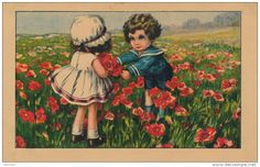 ENFANTS - Jolie carte fantaisie enfants dans un champ de coquelicots signée A. BERTIGLIA