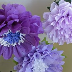 Purple Wonderland 5 Giant Paper Flowers, wedding, bridal/baby shower, photo booth, fairy land, birthday decor, Party Blooms by Whimsy Pie. $32.50, via Etsy.
