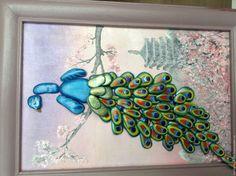 Купить картина из гальки Павлин - синий, павлин, картина в подарок, картина из камня, pebble art