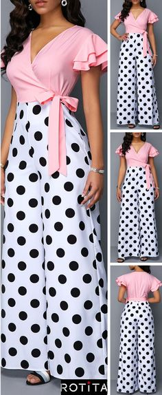 grunge is never going to go away. The Polka Dot Print Jumpsuit look can be worn in a preppy, rocker or urban style. It can be paired with pumps to dress it up or chunky heeled booties for an edgy street style. Urban Fashion, Trendy Fashion, Womens Fashion, Style Fashion, Feminine Fashion, Trendy Style, African Fashion Dresses, African Dress, Vetement Fashion