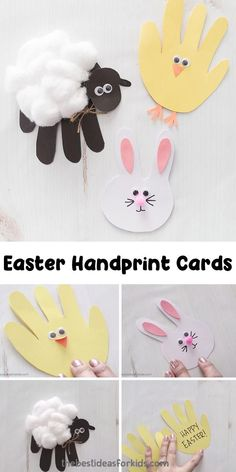 Cute handprint craft for Easter. Easy Easter handprint cards that are the perfect Easter handprint crafts for kids. A handprint bunny, sheep and chick tutorial included! Daycare Crafts, Toddler Crafts, Preschool Crafts, Kids Crafts, Easy Crafts, Infant Crafts, Creative Crafts, Easter Crafts For Toddlers, Crafts For Girls