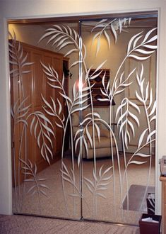 Ferns Wardrobe Custom Mirrors etched glass designs by Sans Soucie. Polished, beveled and irregular edges to coordinate with any decor. Etched Glass Door, Frosted Glass Door, Sliding Glass Door, Glass Doors, Glass Etching, Etched Mirror, Glass Partition Designs, Glass Design, Interior Decorating Styles
