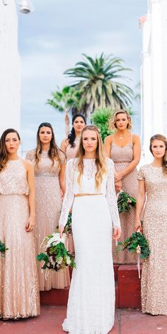 Full On Glitz Sequined And Metallic Bridesmaid Dresses ❤ See more: http://www.weddingforward.com/sequined-metallic-bridesmaid-dresses/ #weddingforward #bride #bridal #wedding