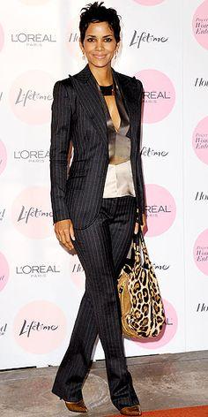 Halle Berry -pinstripe suit + Jimmy Choo leopard print bag