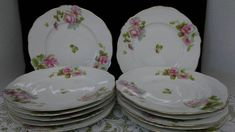 12 Hermann Ohme Silesia German pink rose porcelain china dessert salad plates by rummagechicboutique on Etsy