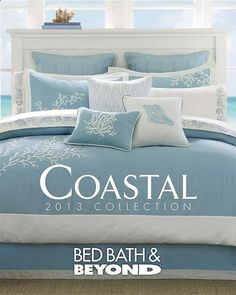 Coastal bedding collections at Bed Bath and Beyond. Coastal bedding collections at Bed Bath and Beyond. Beach Cottage Style, Beach Cottage Decor, Coastal Cottage, Coastal Homes, Coastal Decor, Coastal Style, Coastal Rugs, Seaside Decor, Lake Cottage