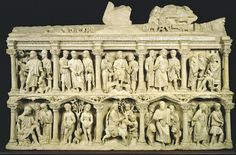 Sarcophagus of Junius Bassus / Italy / Early Christian art Christian Images, Early Christian, Christian Art, Renaissance Kunst, Roman Sculpture, Roman Art, Ap Art, Medieval Art, Ancient Artifacts