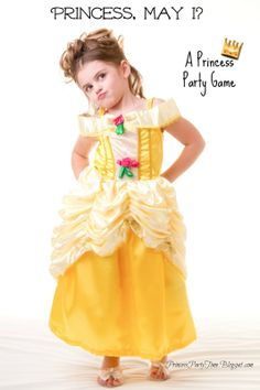 Princess, May I - A cute twist on Mother May I.  Great game idea for a princess party.  #princessparty #partyideas #partygames #games