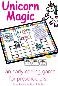 STEM Activities for Kids: Unicorn Magic {a screen-free early coding game} Check out all the 28 Days of STEAM Projects for Kids for fun science, technology, engineering, art, and math activities!