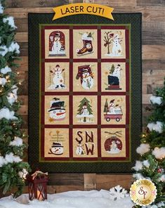 The finished Winter Wonderland Wool Quilt displayed on a wall Quilting, Quilt Stitching, Fabric For Sale Online, Snowman Quilt, Quilt Display, Crazy Quilt Stitches, Wool Quilts, Quilt Of Valor, Shabby Fabrics