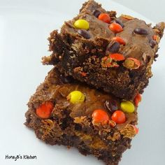 Peanut Butter Cup and Reeses Pieces Brownies