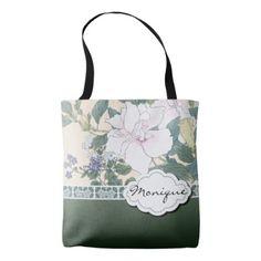 "T Kônan Wood Block Print ""Hibiscus and Browallia"" Tote Bag - maid of honor gifts wedding bride cyo personalize"