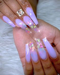 Acrylic Nails Coffin Glitter, Purple Acrylic Nails, Summer Acrylic Nails, Best Acrylic Nails, Light Purple Nails, Purple Glitter Nails, Pastel Purple, Bling Nails, Sweet 16 Nails
