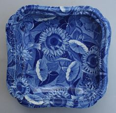 A very rare and simply stunning blue and white transferware Spode Convolvulus or Sunflower pattern veg dish