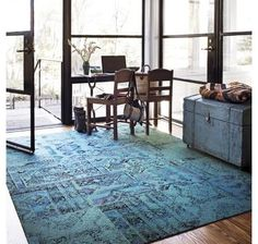 Flor took inspiration from faded, antique Persian rugs for this line of carpet tiles. The pattern is very forgiving if you happen to fall behind on your housecleaning, and the green-blue colors pair well with so many other colors, from grays to purples to greens to other blues.