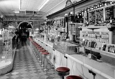 """""""General view of soda fountain area -- Zaharako Bros. Family-run ice cream and confectionery business operating since 1900 Shorpy Historical Photo Archive :: Fountain Service: 1974 Old Pictures, Old Photos, Vintage Photographs, Vintage Photos, Shorpy Historical Photos, Cuba, Columbus Indiana, Vintage Diner, Fifties Diner"""