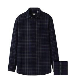 MEN FLANNEL CHECK LONG SLEEVE SHIRT  - UNIQLO