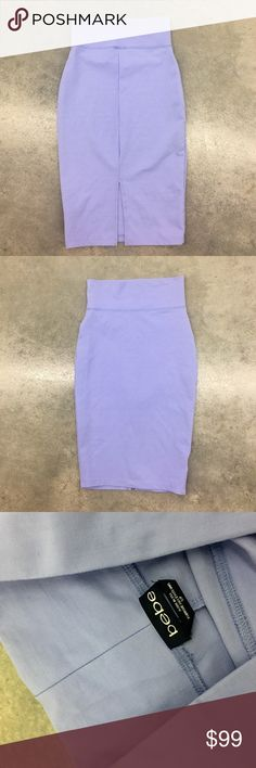 Bebe Stretch Pointe Bodycon pencil knee skirt S/P ✨(❁´◡`❁) ωḙℓḉ✺Պḙ (❁´◡`❁)✨     Description:    •Super pretty and unique Periwinkle/ Lavender super soft/ top quality body con stretch fabric   •Below knee length   •Pencil style / Slit on back        • Coachella • Burning man • Hippie • Bohemian • Boho babe • Summer •     ✨      Brand: Bebe    ✨    Size: S/P    ✨    Condition: Excellent Preowned shape. No holes or snags.      ✨   (please refer to all photos Don't hesitate to ask ANY and ALL…