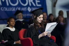 Maria Sweeney would rather have walked across the stage on her own, addressing her fellow Moore College of Art and Design graduates Sunday from behind the podium. Instead, the 22-year-old - who has a rare disease that causes her bones to break and her joints to freeze - took a wheelchair to the stage and spoke from a padded chair.