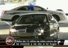 Niña de 11 años se roba carro de la mama y se da a la fuga