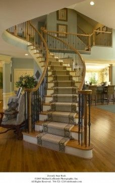 Traditional Home Combination Straight And Curved Staircase Design Ideas, Pictures, Remodel, and Decor - page 2