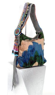 Silk velvet shoulder bag by Dassios