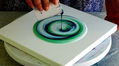 (455) Split cup pour with pearl white ~ Acrylic pour painting ~ Spin art...