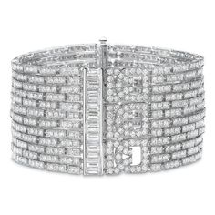 Reserve 18K White Gold Baguette Diamond Wide Deco Cuff ($110,000) ❤ liked on Polyvore featuring jewelry, bracelets, 18k bangle, diamond jewellery, cuff bangle, diamond cuff bangle and white gold diamond bangle