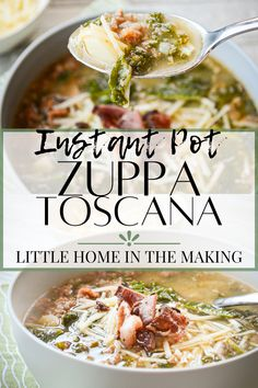 Do you love Olive Garden's Zuppa Toscana? I do! Try this delicious copycat recipe that you can make at home in your Instant Pot! A delicious healthy dinner option that makes use of inexpensive ground italian sausage, filling potatoes, and healthy kale! #healthydinner #healthysoup #instantpot #instantpotrecipes #instapot #healthyinstantpot #instantpotsoup #soup #kale #sausage #potato #winterrecipes #fallrecipes