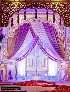 Traditional Pakistani wedding stage for the bride and groom. Arab Wedding, Wedding Mandap, Big Fat Indian Wedding, Desi Wedding, Wedding Stage, Purple Wedding, Wedding Reception, Stage Decorations, Indian Wedding Decorations