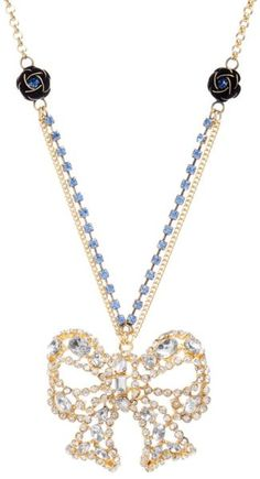 Large Crystal Bow Pendant  BETSEY JOHNSON  Large Crystal Bow Pendant  Top off your look to complete the package. Betsey Johnson's ultra-feminine pendant features a crystal-encrusted bow strung from a blue crystal cup chain with flower charm accents. Set in gold-plated mixed metal. Approximate length: 16 ...    €50 at Macy's