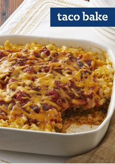 Taco Bake -- We had a hunch about these two. And sure enough, fireworks. Ooey-gooey mac and cheese pairs up with the Tex-Mex flavors of tacos for a match made in heaven.