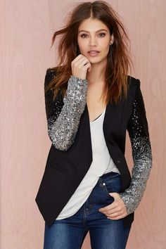 Cool black blazer with silver sequins