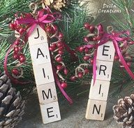 Scrabble Name Ornaments... could be a cool gift tag too.