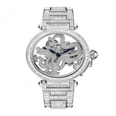 See the Cartier Skeleton Dragon Motif Brillant-Cut Diamonds watch - Movement : Manual-winding mechanical - Case : White gold Patek Philippe, Dream Watches, Luxury Watches, Pasha De Cartier, Latest Watches, Skeleton Watches, Keep Jewelry, Rolex Datejust, Michael Kors Watch